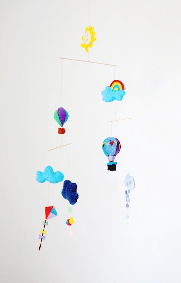 mobile en feutrine montgolfieres